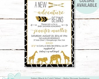 Safari Black and Gold Glitter Baby Shower Invitation Printable, Jungle, Baby Shower Invite, Giraffe, Elephant, Lion, Black and Gold, 11S