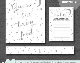 Silver Glitter Stars Guess The Baby Food Baby Shower Game Printable, Baby Food Guessing Game, Boy, Girl, Gender Neutral, Gender Reveal, 5S