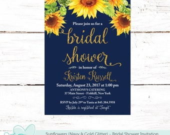 Sunflowers Bridal Shower Invitation Printable, Navy Gold Glitter and Yellow, Bridal Shower Invite, Sunflower Invitation, Flowers, 40S