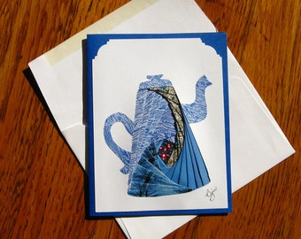 Homemade Iris Fold Coffee Pot Note Card, Blank All Occasion with Blue Enamel Coffee Pot Image Made of Repurposed Materials