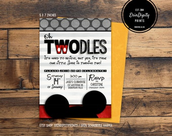 Oh TWOdles Birthday Invitation (Digital File or Prints with Envelopes) (FREE Shipping) (ALL Wording can be changed)