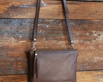 Brown Leather Crossbody - Leather Cross Body Bag - Small Leather Purse with Tassel & Zipper