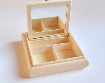 Wooden Box with Mirror and 2 Compartments. Jewelry Box. Unfinished Wooden Box. #TR325