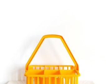 Vintage bottle carrier-Vintage plastic retro 6 pack bottle holder-Bright yellow-Box-French
