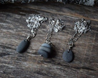 Beach Stone Jewelry Beach Stone Necklace Pebble Necklace Made in Maine