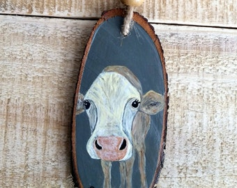 Cow Ornament, Christmas Ornament, Original, Farm ornament, cows, cattle, Farm Animals, Wood Slice, Wood Ornament, Gift