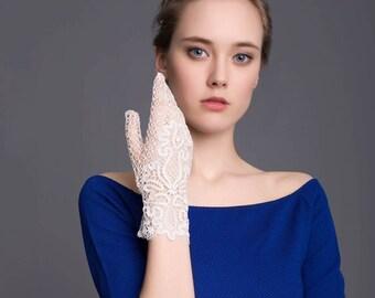 "Bobbin lace ""Flower of Love"" gloves Russian bobbin handmade lace"