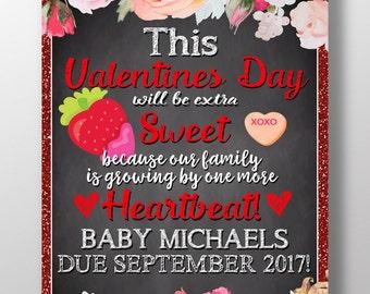 Valentine pregnancy announcement, red pregnancy announcement, pink gold pregnancy announcement, 1 more heartbeat, vday pregnancy, PRGVAL01