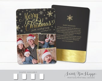 Merry Christmas Photo Card in Gold Snowflakes (Vertical) Christmas Card Photo, Holiday Card Back Design, Christmas Card Gold Foil Effect