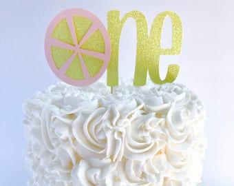Lemonade cake topper/ Pink lemonade birthday party/ lemonade birthday party/