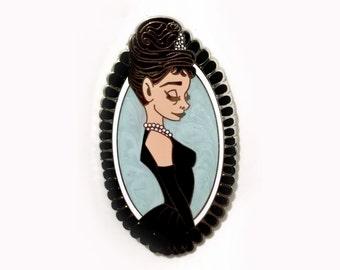 Audrey Hepburn inspired hard enamel pin