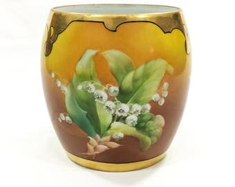 Hand Painted Limoges Jardiniere, T&V Limoges, France Studio Chicago, Arts Crafts, Lily of the Valley, Gilded Rims, 1910s, Antique