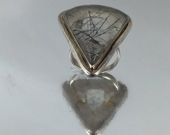 Triangular Sterling Silver Ring with Tourmalated Quartz
