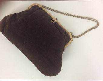 Vintage Victorian Edwardian Handbag Purse Brown Velvet Gilt Metal Trim Steam Punk Early 1900s