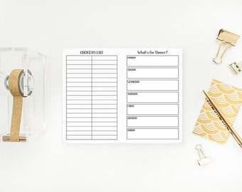 Menu Planner Traveler's Notebook Insert - Pocket or A6 size - food planning - grocery list - food diary - weekly meals