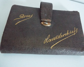 Vintage 1930's Brown Leather Glove and Handkerchief Holder with a latch & inside lilac grosgrain banding lining