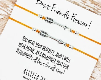 """Set of Two Charm Friendship Bracelets with """"Best Friends Forever"""" Card   BFF, Best Friend Gift Jewelry   Matching Bracelets"""