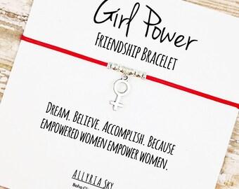 Girl Power Friendship Bracelet | Empowered Women Empower Women | Feminist, Inspirational, Women's March Jewelry | For Her, Boss, Friend