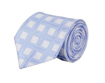 Blue Net Patterned Tie.Mens Silk Tie.Business Tie.Standard Size.