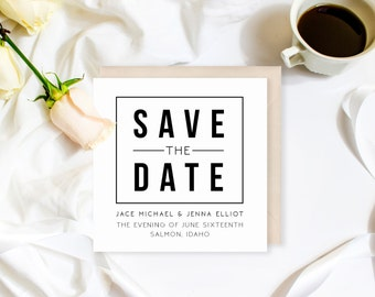 Modern Save the Date | Minimalist Wedding Invitation | Wedding Invitation Suite | Invitations Available! | Modern Wedding | Black and White