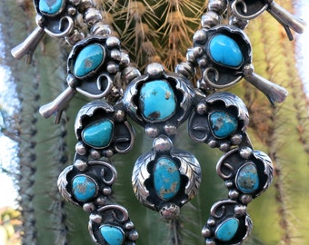 High Grade Turquoise NAVAJO Squash Blossom Necklace, 280 Grams,  Sterling