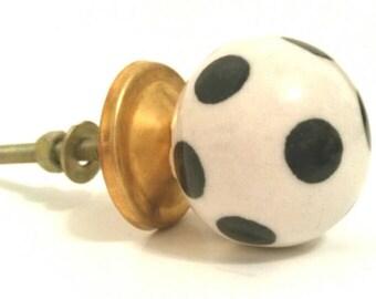 Ceramic Knob - Black & White Polka Dot Knob - Art Deco - Tin base and hardware Included - Dresser Drawer Pull - Handcrafted - Handmade Item
