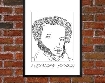 Badly Drawn Alexander Pushkin - Literary Poster - *** BUY 4, GET A 5th FREE***
