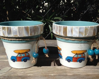 Surf's Up! Coastal Vibe Vintage Surfboard & Woody Wagon Planter, Nautical Tropical Beach Surfing Mosaic Shell Tile Orchid Flower Cache Pot