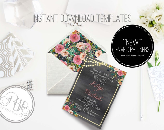Watercolor Wedding Invitation/Envelope Liner/INSTANT DOWNLOAD Template/5x7/PDF/Psd Editable Text Only/Watercolor Flowers-Teresa
