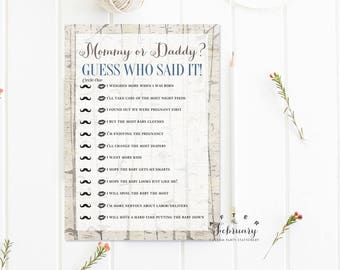 Mommy or Daddy Guess Who Said It Rustic Baby Shower Games Rustic Baby Shower Games Boy Printable // INSTANT DOWNLOAD No.645BABY