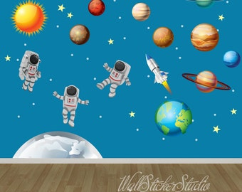 Nice Astronaut Wall Decal, Solar System Decal, Planets Decal, Rocket Decal, Boys  Decal Part 28