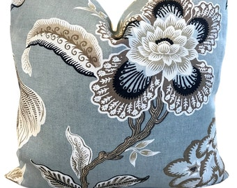 Schumacher Pillow Hothouse Flowers Mineral ONE PILLOW COVER Grey Floral Pillow Decorative Pillow Throw Pillow Designer Pillow