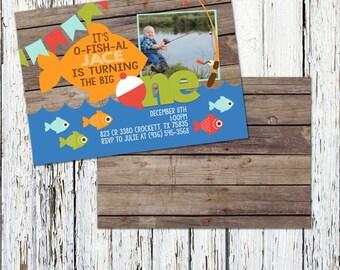 Fishing Birthday Invitation, It's O-FISH-AL Birthday Invitation, The Big One Birthday Invitation, Picture Fishing Birthday Invitation