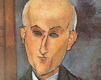 Modigliani-Amedeo Modigliani-Art-Portrait-Max Jacob-Italy-Vintage-Postcard-Home-Wall decor