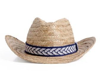 Straw Cowboy Hat , Southwest style straw hat , Unisex bohemian summer hats , Beach hats.