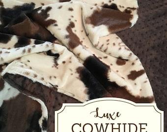 COWHIDE Minky Blanket, Cow Minky Blanket, Farm Minky Blanket, Farm baby bedding, Hide baby blanket, Double Minky Blanket, Farm baby quilt