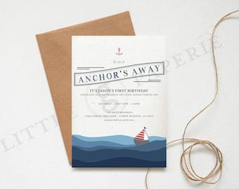 Nautical Birthday Invitation, Printable Custom Design