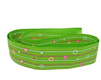 1 yard stripy ribbon, green pink ribbon, 30mm ribbon, striped ribbon, Spring green ribbon, sewing ribbon, haberdashery items, uk ribbon