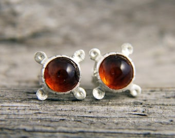 Silver Amber Stud Earrings, Baltic Amber Silver Post Earrings, Sterling Silver Stud Amber Earrings
