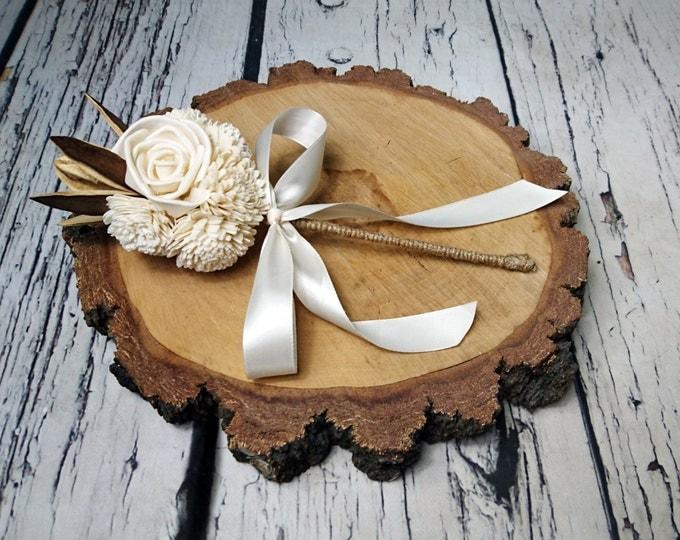 Flowergirl wand cream rustic wedding Ivory Flowers, linen cord handle, Flower girl, Bridesmaids, sola roses vintage wedding brown custom
