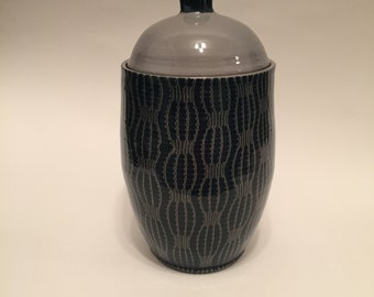 Blue and Grey Patterned Cookie Jar, Covered Pot, Handmade Pottery, Weiueheel Thrown, Great thuvhuhh)6 hvh;;)?Gift, Functional g c cg cgc x