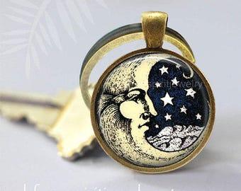 Man In The Moon Key Chain, Retro Moon and Stars Pendant, Astronomy, Moon & Stars Key chain, Gift under 10, Celestial Symbols, Astrology