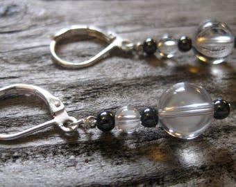 quartz crystal EARRINGS sterling LEVER BACKS, 1 inch dangle