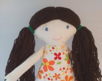 One of a kind handmade cloth doll, rag doll, ragdoll, soft doll, fabric doll, gift for girls
