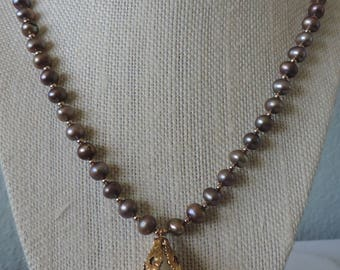 Taupe Pearl Necklace,  Pearl Necklace, Pearl Pendant Necklace,