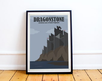 Dragonstone Travel Poster Style Print - Game of Thrones Travel Poster - Baratheon - Targaryen -  (Available In Many Sizes)