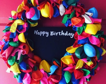 Balloon Wreath with Chalkboard Sign