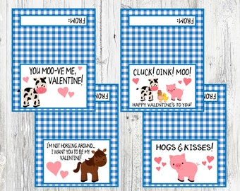 Farm Animal Valentine's Day Bag Toppers. Cluck Oink Moo, Happy Valentine's To You, Hogs & Kisses, Horse, Cow. Instant Digital Download
