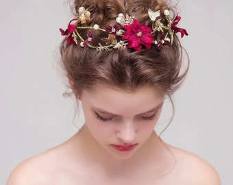 Handmade Bridal Headband, Burgundy Flower Crown, Alloy Butterfly Wedding Tiara, Elegant Bridal Headpiece