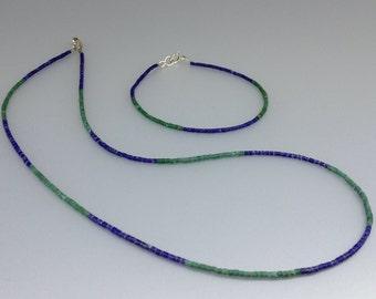 Malachite and Lapis Lazuli gift set necklace with bracelet -gift idea- fine stone necklace and bracelet -green and blue gemstone combination